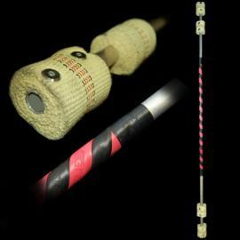 Firetoys Fibre III double contact fire staff - 140 cm Black/red